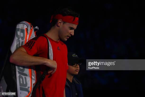 Dominic Thiem of Austria walks out for his Singles match against David Goffin of Belgium during day six of the Nitto ATP World Tour Finals at O2...
