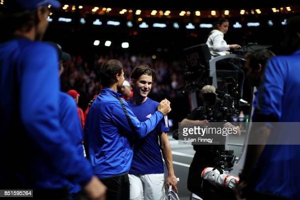 Dominic Thiem of Team Europe celebrates after winning his singles match against John Isner of Team World on the first day of the Laver Cup on...