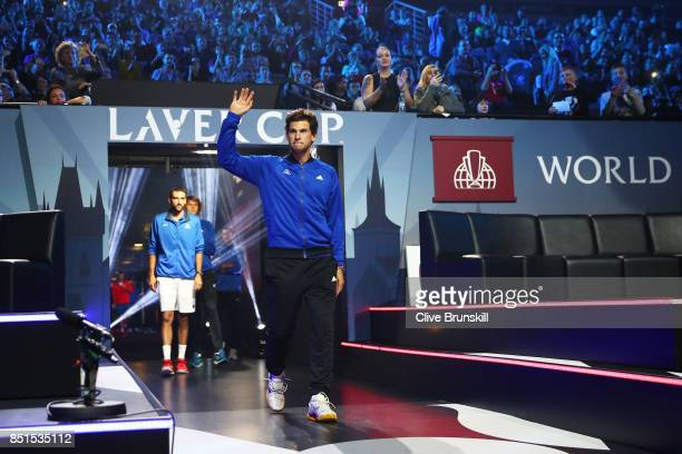 Dominic Thiem of Team Europe is introduced to the crowd on the first day of the Laver Cup on September 22 2017 in Prague Czech Republic The Laver Cup...
