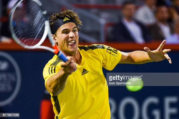 Dominic Thiem returns the ball during his first round match at ATP Coupe Rogers on August 8 at Uniprix Stadium in Montreal QC