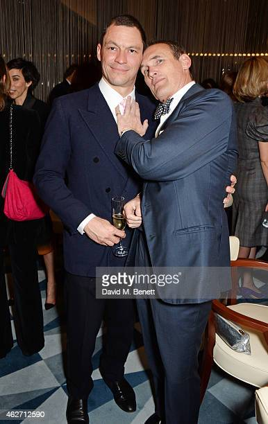 Dominic West and AA Gill attend a charity dinner hosted by Nicola Formby and AA Gill with Dana Hoegh in support of Borne a charity aimed at...