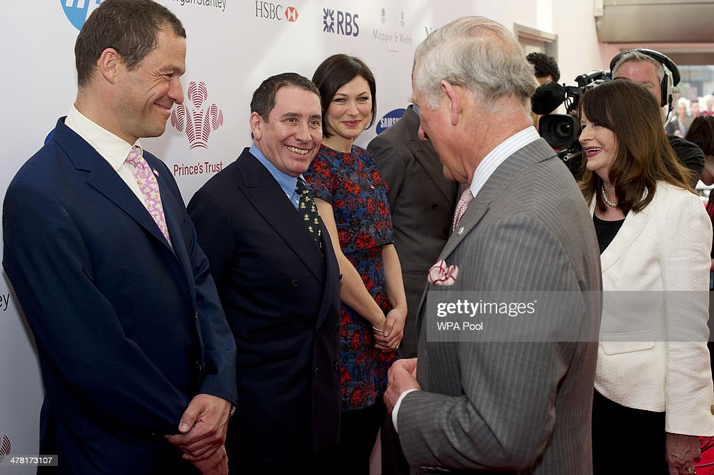 Dominic West, Jools Holland and Emma Willis meet Prince Charles, Prince of Wales at the Prince's Trust & Samsung Celebrate Success awards at Odeon Leicester Square on March 12, 2014 in London, England.