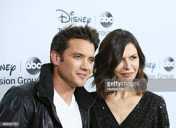 Dominic Zamprogna and Finola Hughes arrive at the ABC/Disney 2014 Winter TCA party held at The Langham Huntington Hotel and Spa on January 17 2014 in...
