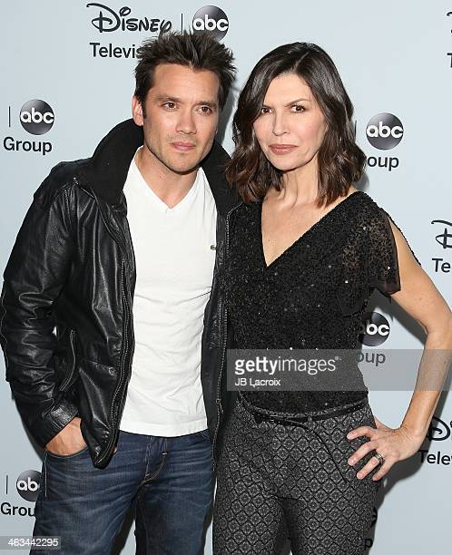 Dominic Zamprogna and Finola Hughes attend the ABC/Disney TCA Winter Press Tour Party at The Langham Huntington Hotel and Spa on January 17 2014 in...