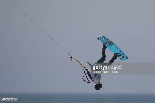 Dominican kite surfer Ariel Corniel competes in the Tarifa Kitesurfing World Championships 2015 at Los Lances beach near Tarifa on July 11 2015 AFP...