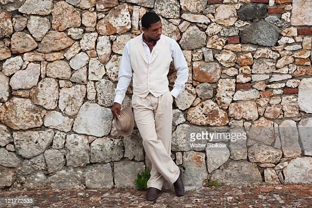 Dominican male dancer in costume, Altos de Chavon, La Romana, Dominican Republic