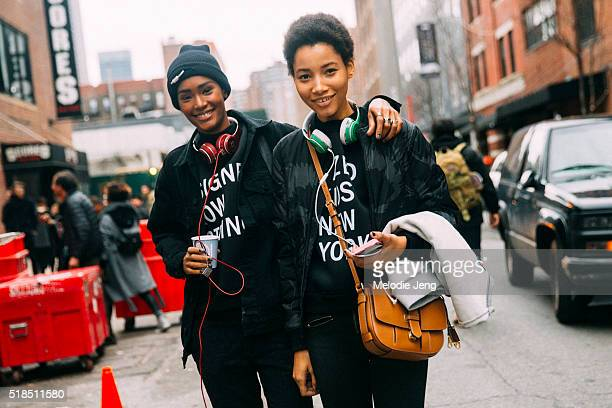 Dominican models Ysaunny Brito and Lineisy Montero after the DKNY show at Skylight Modern during New York Fashion Week Women's Fall/Winter 2016 on...