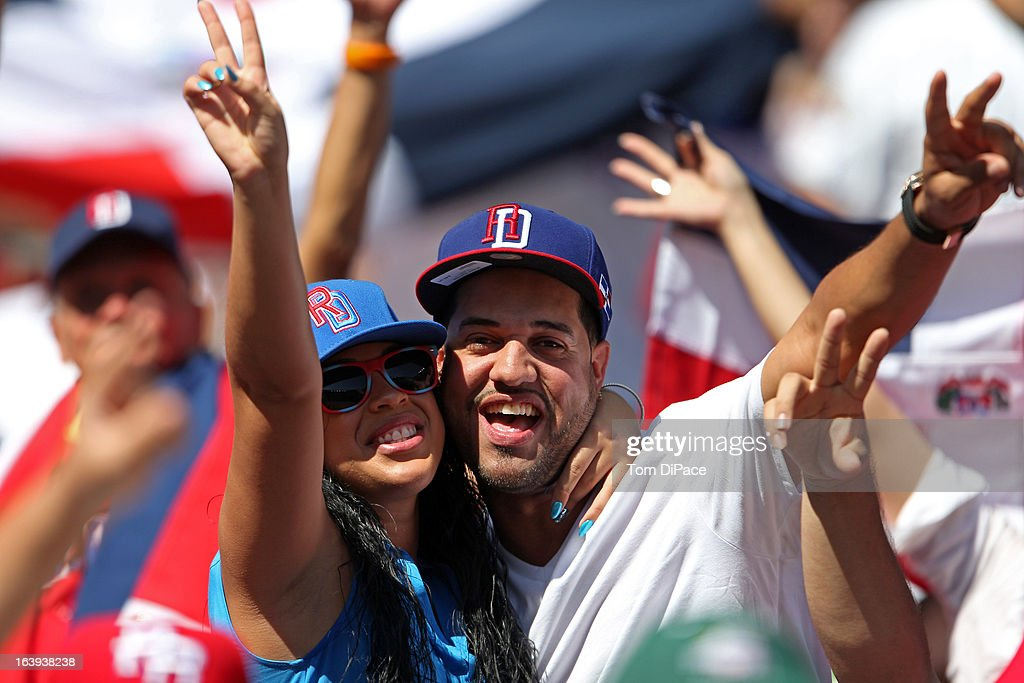 Dominican Republic fans celebrate during Pool 2, Game 6 against Team Puerto Rico in the second round of the 2013 World Baseball Classic on Saturday, March 16, 2013 at Marlins Park in Miami, Florida.