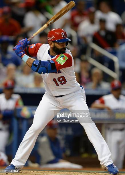 Dominican Republic Jose Bautista during the World Baseball Classic 1st Round Pool C game between Canada and Dominican Republic on March 09 at Marlins...