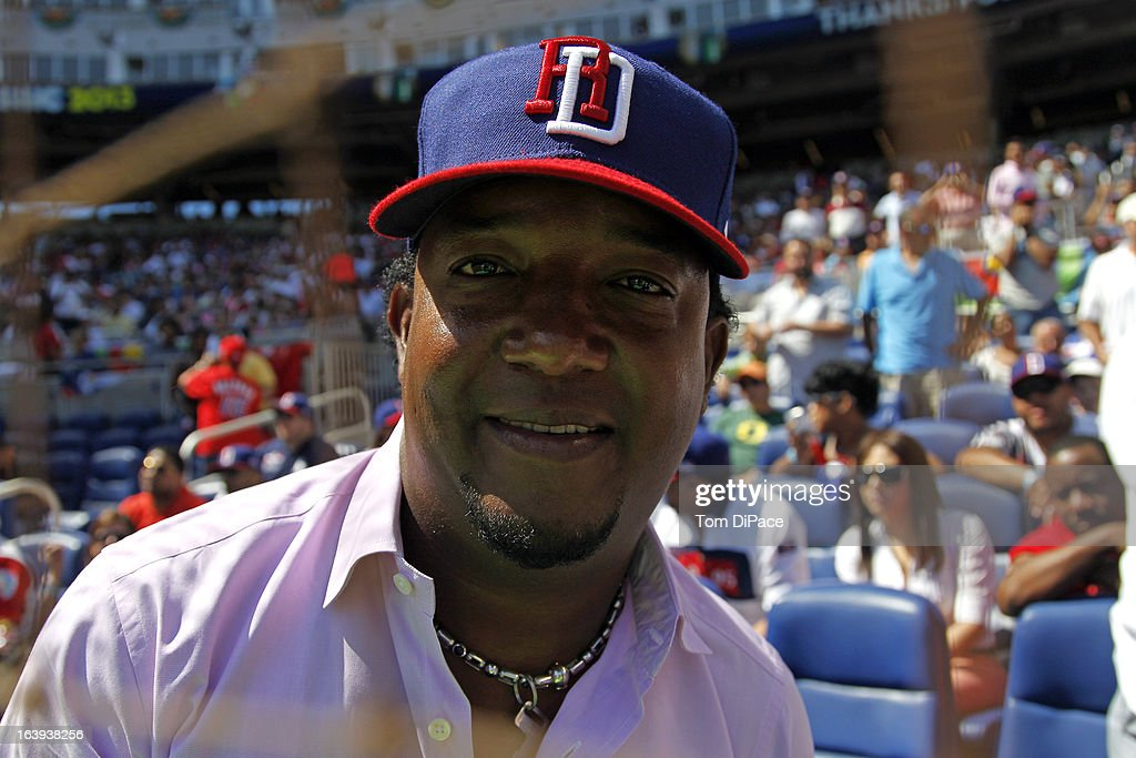 Dominican Republic native and former MLB Player Pedro Martinez is seen in the stands during Pool 2, Game 6 against Team Puerto Rico in the second round of the 2013 World Baseball Classic on Saturday, March 16, 2013 at Marlins Park in Miami, Florida.