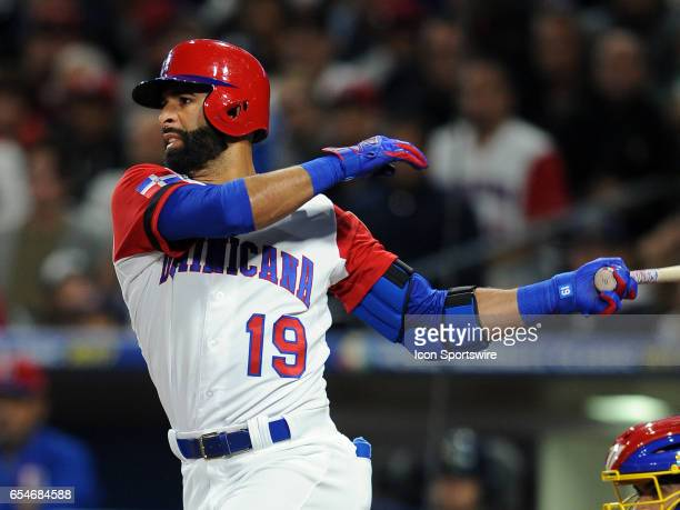 Dominican Republic oF Jose Bautista batting during a World baseball classic game versus Venezuela on March 16 during a World Baseball Classic game...