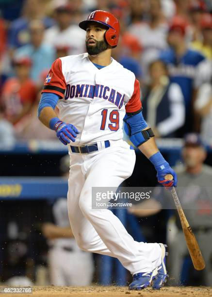 Dominican Republic outfielder Jose Bautista at bat during the first round pool C World Baseball Classic game between the Dominican Republic and the...