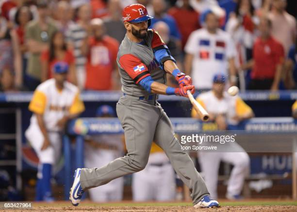 Dominican Republic outfielder Jose Bautista double during the World Baseball Classic 1st Round Pool C game between the Dominican Republic and...