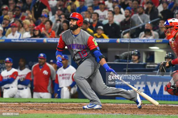 Dominican Republic Outfielder Jose Bautista grounds out to third during the eighth inning of a World Baseball Classic second round Pool F game...