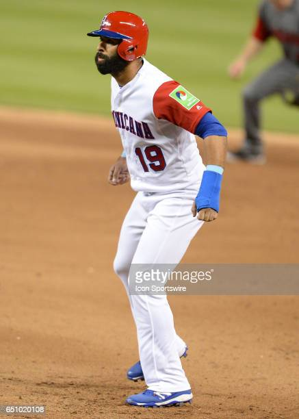 Dominican Republic outfielder Jose Bautista in first base during the World Baseball Classic 1st Round Pool C game between Canada and Dominican...