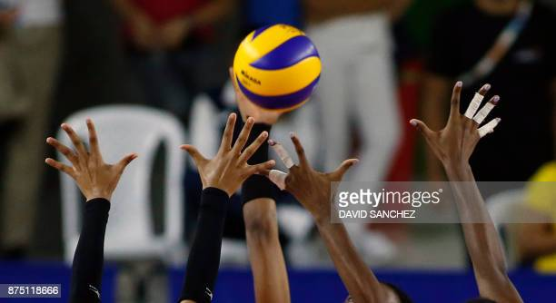TOPSHOT Dominican Republic play Colombia in the volleyball women's final match during the XVIII Bolivarian Games in Santa Marta Colombia on November...