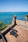 Dominican Republic, Puerto Plata, Fort San Felipe, canons on fortress rooftop, elevated view