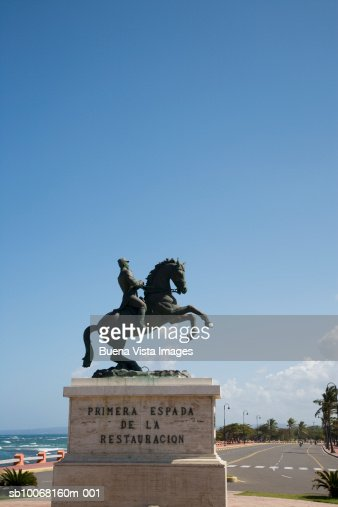 Dominican Republic, Puerto Plata, statue of man on horse : Stock Photo