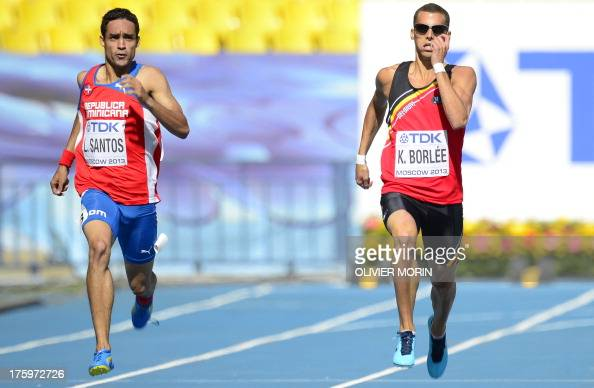 Dominican Republic's Luguelin Santos and Belgium's Kevin Borlee run during the men's 400 metres event at the 2013 IAAF World Championships at the...