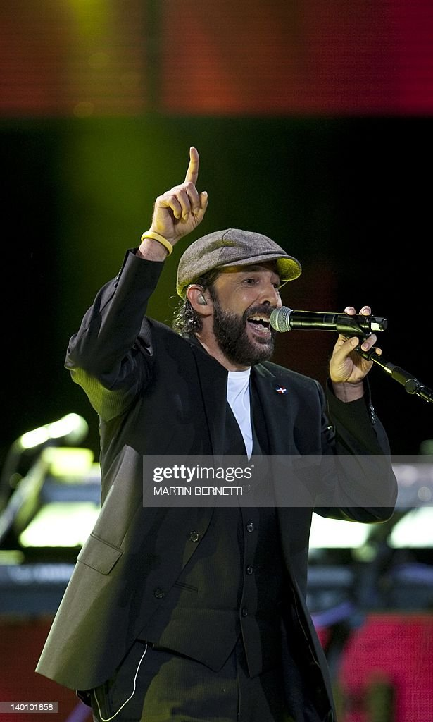 Dominican Republic's singer Juan Luis Guerra performs during the 53nd Vina del Mar International Song Festival on February 27, 2012 in Vina del Mar, Chile . AFP PHOTO/MARTIN BERNETTI