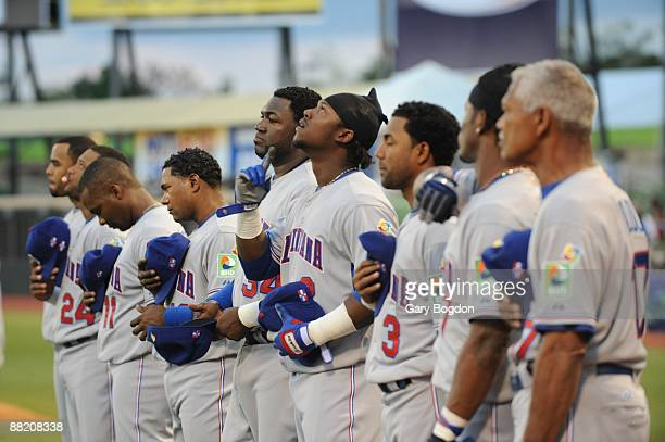 Dominican Republic's team during their national anthem before the start of the Pool D Game 5 of the first round of the 2009 World Baseball Classic at...