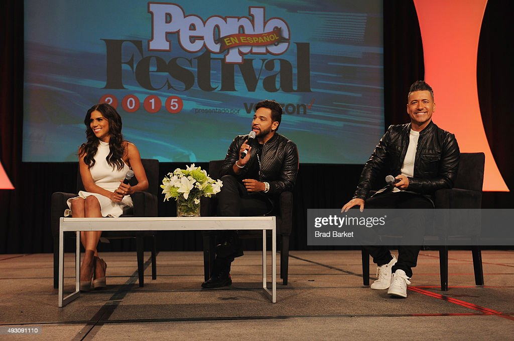 Dominican TV personality Francisca Lachapel Dominican musician Henry Santos and Mexican footballer Jorge Bernal speak on stage at Festival PEOPLE En...