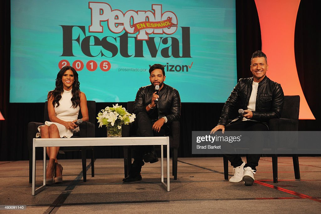 Dominican TV personality Francisca Lachapel Dominican musician Henry Santos and Mexican footballer Jorge Bernal speak on stage attends Festival...