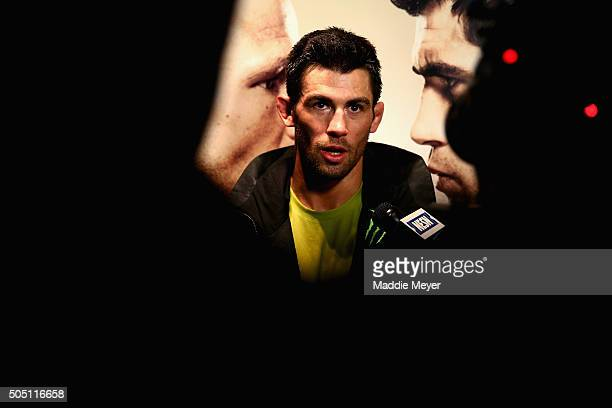 Dominick Cruz answers questions from the media after his workout at UFC Gym on January 15 2016 in Boston Massachusetts