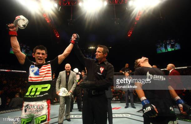 Dominick Cruz celebrates after defeating Urijah Faber in the UFC Bantamweight Championship bout at UFC 132 at MGM Grand Garden Arena on July 2 2011...