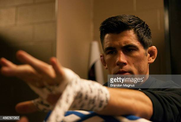 Dominick Cruz gets his hands wrapped before his fight against Takeya Mizugaki during the UFC 178 event inside the MGM Grand Garden Arena on September...