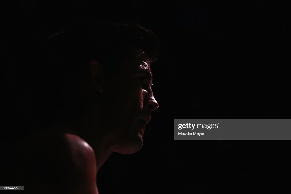 Dominick Cruz looks on prior to facing T.J. Dillashaw (not pictured) in their bantamweight bout during UFC Fight Night 81 at TD Banknorth Garden on January 17, 2016 in Boston, Massachusetts.