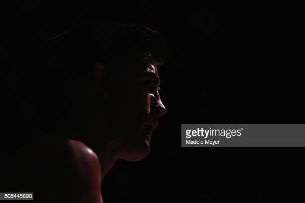 Dominick Cruz looks on prior to facing TJ Dillashaw in their bantamweight bout during UFC Fight Night 81 at TD Banknorth Garden on January 17 2016 in...