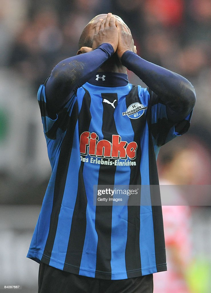 Dominick Kumbela of Paderborn the 3 Liga match between SC Paderborn and Fortuna Duesseldorf at the Paragon Arena on December 20 2008 in Paderborn...