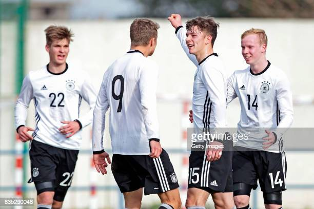 Dominik Becker JannFiete Arp Yannik Keitel Dennis Jastrzembski Players of Germany U17 celebrating their goal during the U17 Algarve Cup Tournament...