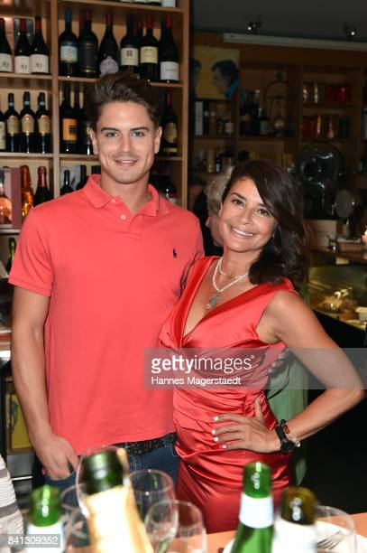 Dominik Bruntner and Gitta Saxx attend the CONNECTIONS PR Summer Cocktail 2017 at Enoteca L'antipasto Nuovo on August 31 2017 in Munich Germany
