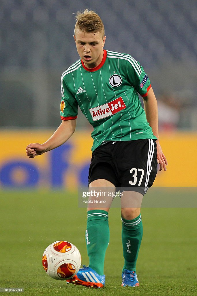 Dominik Furman of Legia Warszawa in action during the Uefa Europa League Group J match between SS Lazio and Legia Warszawa at Stadio Olimpico on September 19, 2013 in Rome, Italy.