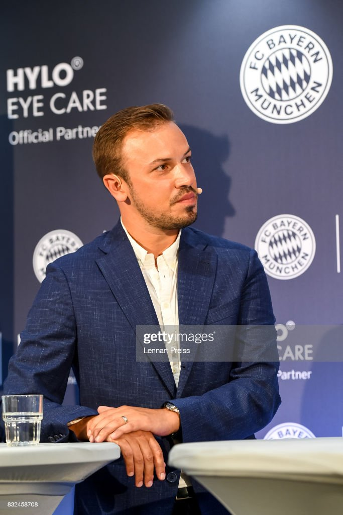Dominik Holzer, CEO of Ursapharm, addresses the media during the presentation of the new partnership of FC Bayern Muenchen and HYLO Eye Care on August 16, 2017 in Munich, Germany.