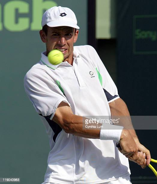 Dominik Hrbaty defeated by David Ferrer in the quarterfinal match 62 63 at the Nasdaq100 Open at Key Biscayne Florida on March 30 2005