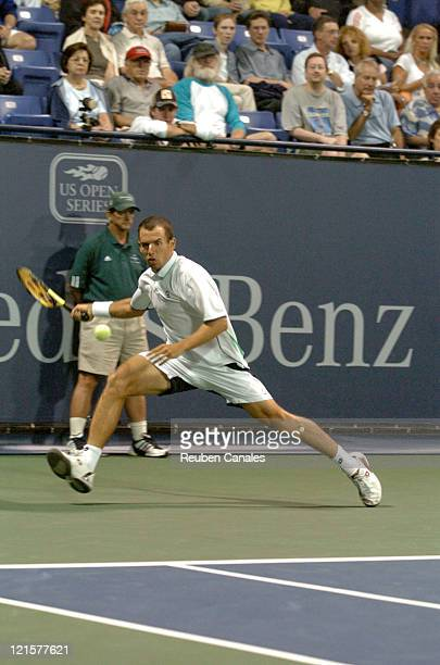 Dominik Hrbaty defeated by Gilles Muller in the semifinal round of the MercedesBenz Cup at the UCLA Tennis Center Westwood California on July 30 2005