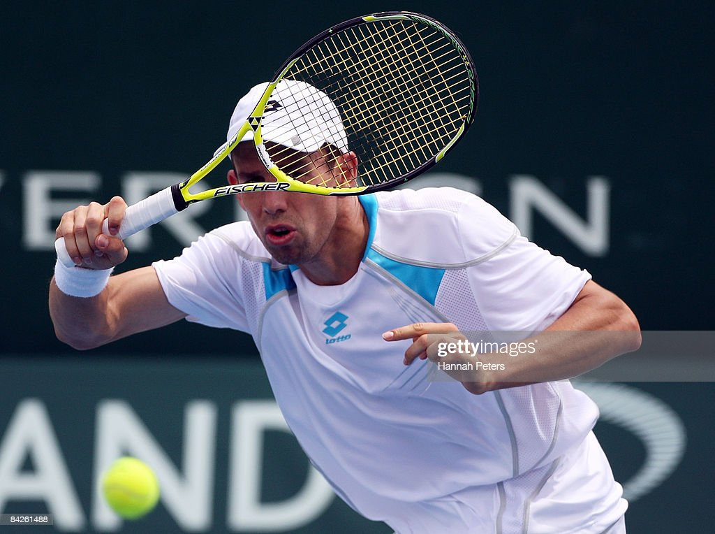 Dominik Hrbaty of Slovakia plays a forehand in his match against Philipp Kohlschreiber of Germany during day two of the Heineken Open at ASB Tennis Centre on January 13, 2009 in Auckland, New Zealand.