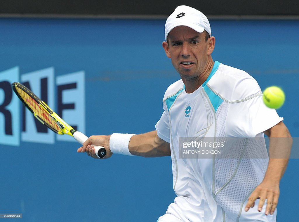 Dominik Hrbaty of Slovakia plays a stroke during his men's singles match against David Ferrer of Spain at the Australian Open tennis tournament in Melbourne on January 21, 2009. Ferrer won 6-2. 6-2. 6-1. .AFP PHOTO/Antony DICKSON