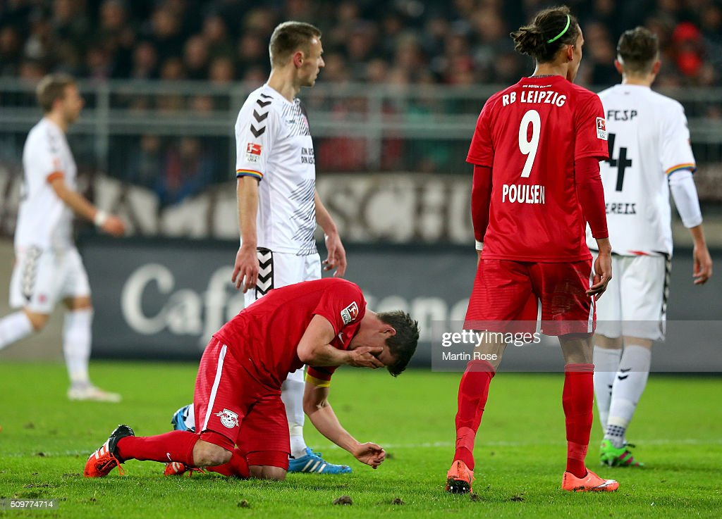 Dominik Kaiser of Leipzig reacts during the second Bundesliga match between FC St. Pauli and RB Leipzig at Millerntor Stadium on February 12, 2016 in Hamburg, Germany.