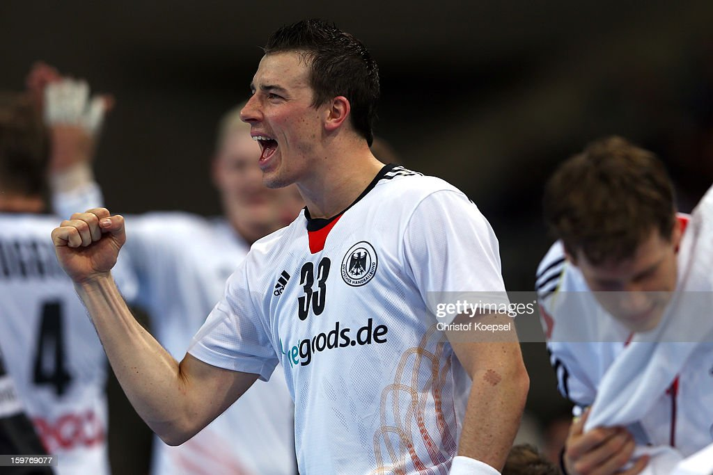 Dominik Klein of Germany celebrates during the round of sixteen match between Germany and Macedonia at Palau Sant Jordi on January 20, 2013 in Barcelona, Spain.