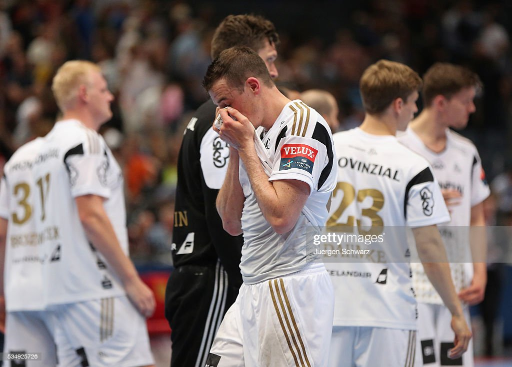 <a gi-track='captionPersonalityLinkClicked' href=/galleries/search?phrase=Dominik+Klein&family=editorial&specificpeople=579023 ng-click='$event.stopPropagation()'>Dominik Klein</a> of Kiel covers his face after losing the second semi-final of the EHF Final4 against MVM Veszprem on May 28, 2016 in Cologne, Germany.
