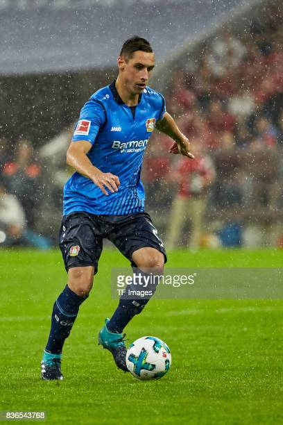Dominik Kohr Aktion controls the ball during the Bundesliga match between FC Bayern Muenchen and Bayer 04 Leverkusen at Allianz Arena on August 18...