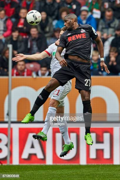 Dominik Kohr of Augsburg and Anthony Modeste of Colonge battle for the ball during the Bundesliga match between FC Augsburg and 1 FC Koeln at WWK...