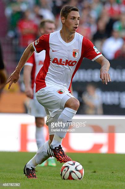 Dominik Kohr of Augsburg controls the ball during the Bundesliga match between FC Augsburg and SV Werder Bremen at SGL Arena on September 20 2014 in...