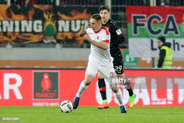 Dominik Kohr of Augsburg controls the ball during the Bundesliga match between FC Augsburg and Bayer 04 Leverkusen at WWK Arena on February 17 2017...