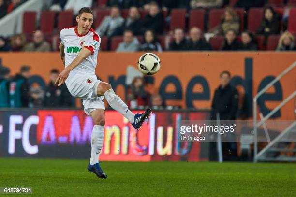 Dominik Kohr of Augsburg controls the ball during the Bundesliga match between FC Augsburg and RB Leipzig at WWK Arena on March 3 2017 in Augsburg...
