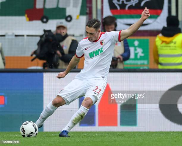 Dominik Kohr of Augsburg controls the ball during the Bundesliga match between FC Augsburg and SC Freiburg at WWK Arena on March 18 2017 in Augsburg...